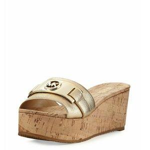 🆕 MICHAEL KORS MK Logo Leather Platform Sandals